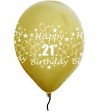 LATEX PRINTED 21st GOLD BALLOONS 10s
