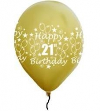 LATEX PRINTED 21st GOLD BALLOONS 50's