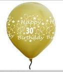 LATEX PRINTED 30st GOLD BALLOONS 10s