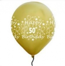 LATEX PRINTED 50th GOLD BALLOONS 50's