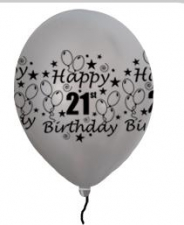 LATEX PRINTED 21st SILVER BALLOONS 10s