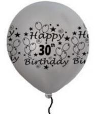 LATEX PRINTED 30th SILVER BALLOONS 50's