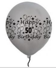 LATEX PRINTED 50th SILVER BALLOONS 50's