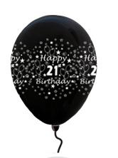 LATEX PRINTED 21st BLACK BALLOONS 10s