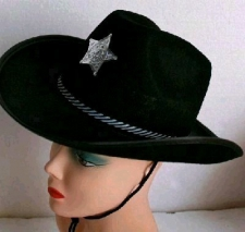 HAT SHERIFF HAT BLACK WITH BADGE