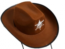 HAT SHERIFF HAT BROWN WITH BADGE